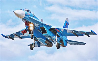 Su-27, atterrissage, chasseurs, Flanker-B, Force aérienne russe, Sukhoi Su-27, armée russe, Sukhoi, Flying Su-27