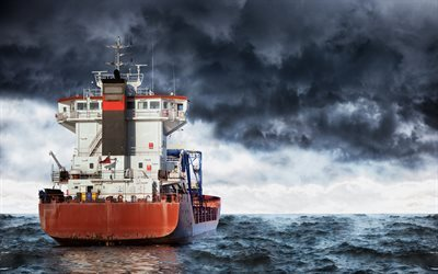 sea, storm, container ship, big ship, transportation