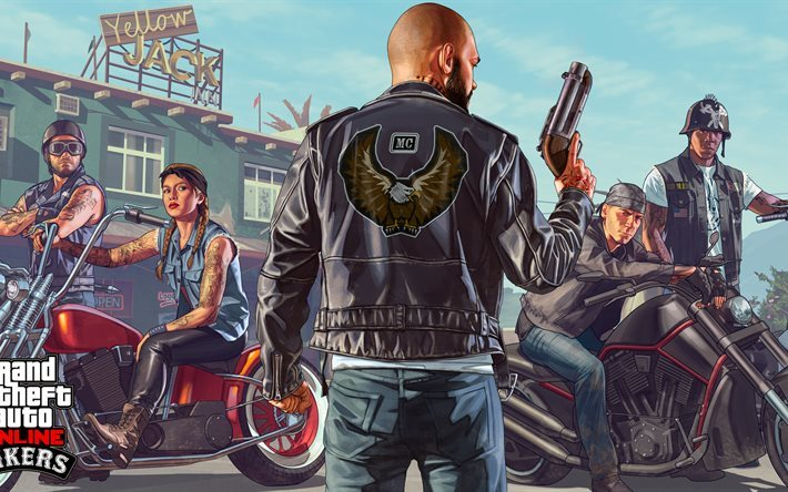 Download Wallpapers Gta V Online 4k Characters Bikers For