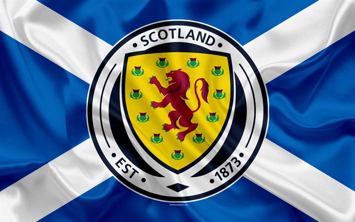 download wallpapers scotland national football team emblem logo flag europe flag of. Black Bedroom Furniture Sets. Home Design Ideas