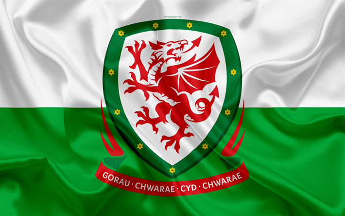 Wales national football team, emblem, logo, football federation, flag, Europe, flag of Wales, football, World Cup