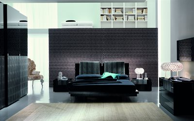 modern design bedroom, 4k, black bed, black and white bedroom, modern style, floor lamps