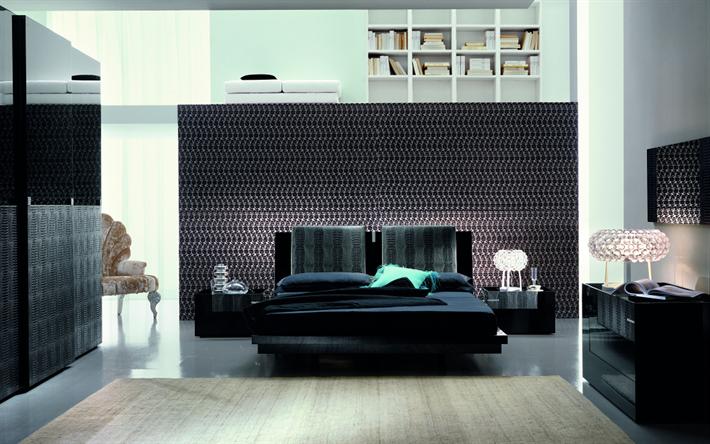 Scarica sfondi design moderno camera da letto, 4k, nero letto ...