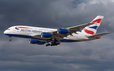 Airbus A380-800, passenger plane, British Airways, air flights, plane travel