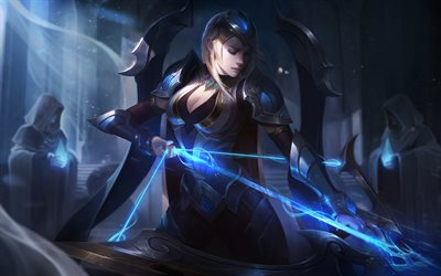 Ashe, 4k, archer, MOBA, night, League of Legends