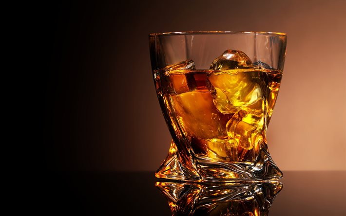 whiskey in a glass glass, assorted drinks, whiskey, whiskey glass, ice cubes, whiskey with ice