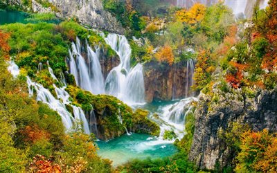 Plitvice Lakes, waterfalls, lakes, autumn, forest, autumn landscape, Croatia