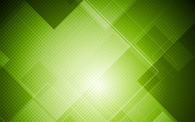 green squares, 4k, material design, geometric shapes, lines, geometry, squares patterns, strips, abstract art, green backgrounds
