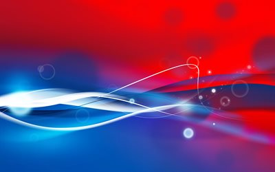 abstract waves, 4k, white neon lights, blue and red background, creative, artwork