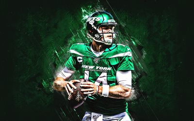 Sam Darnold, New York Jets, NFL, American football, green stone background, National Football League