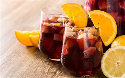 Sangria, Traditional Spanish drink, Sangria in glasses, orange, Red wine, fruit wine