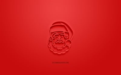 Santa Claus 3d icon, red background, 3d symbols, Santa Claus, creative 3d art, 3d icons, Santa Claus sign, Christmas 3d icons