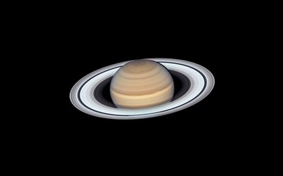 Saturn, solar system, planets, Saturn on black background