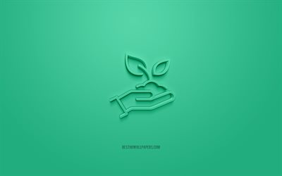 Save Earth 3d icon, green background, 3d symbols, Save Earth, creative 3d art, 3d icons, Save Earth sign, Ecology 3d icons