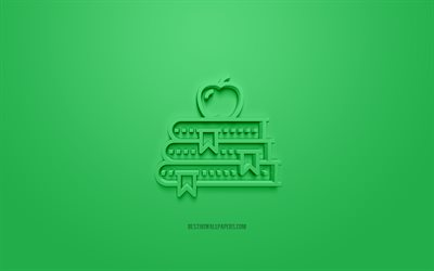 School 3d icon, green background, 3d symbols, School creative 3d art, 3d icons, School sign, Education 3d icons