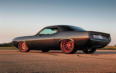 Plymouth Barracuda, 1974, retro coupe, black Barracuda, red wheels, american cars, Plymouth
