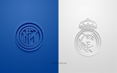 FC Internazionale vs Real Madrid, UEFA Champions League, Group С, 3D logos, blue white background, Champions League, football match, FC Internazionale, Real Madrid, Inter Milan vs Real Madrid