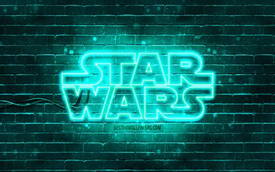 Star Wars turquoise logo, 4k, turquoise brickwall, Star Wars logo, creative, Star Wars neon logo, Star Wars