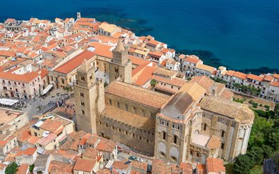 Cefalu Cathedral, aerial view, top view, Mediterranean Sea, Roman Catholic basilica, Cefalu, Sicily, Italy, Cefalu cityscape