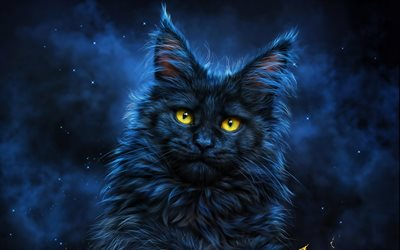 black cat, 3D art, darkness, pets, cat with yellow eyes, cats
