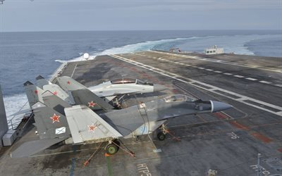 MiG-29KUB, fighters, aircraft carrier deck, MIG-29, Russian Air Force