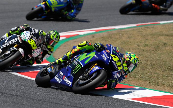 Download wallpapers Valentino Rossi, 4k, MotoGP, Movistar Yamaha MotoGP, Yamaha YZRM1, Michelin