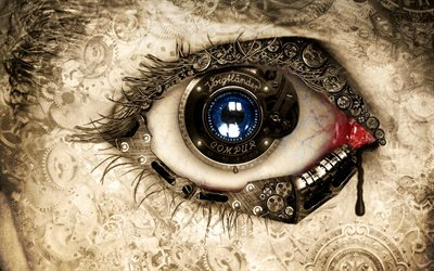 human eye, mechanic concept, art, creative, gears
