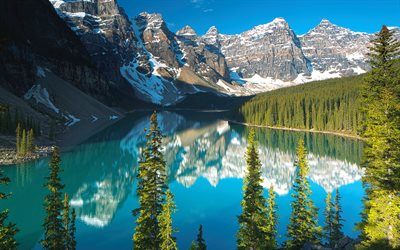 4k, Moraine Lake, summer, Banff National Park, blue lake, North America, mountains, Canada