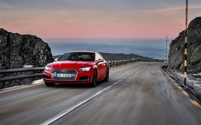 Audi S5, 2018, 4k, red coupe, German cars, mountain serpentine, Audi