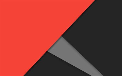 material design, red and black, android, lollipop, triangles, geometric shapes, creative, strips, geometry, gray background