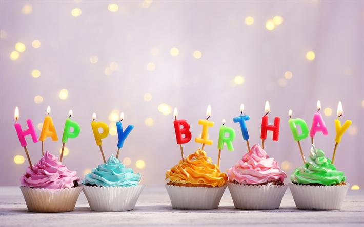 Descargar Fondos De Pantalla Feliz Cumpleaños Velas Cupcakes