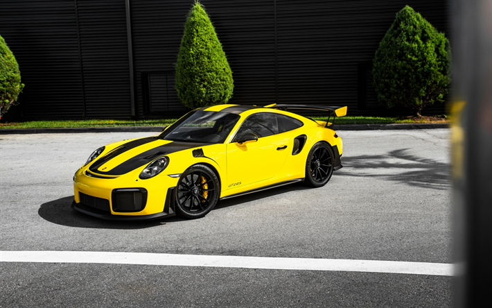 Download Wallpapers Porsche 911 Gt2 Rs 2018 Yellow Racing Car Sports Coupe Tuning German Sports Cars Porsche Ag For Desktop Free Pictures For Desktop Free