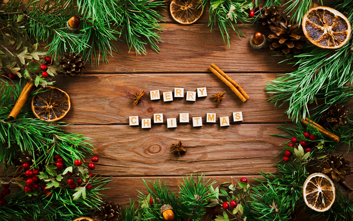 Download wallpapers 4k, Merry Christmas, creative, Happy New