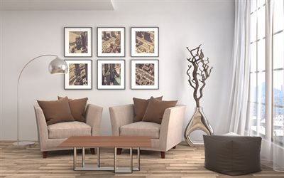 living room, beige interior design, stylish interior, metal vase, dry tree in the living room