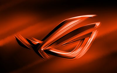 4k, RoG logo de orange, orange fondo desenfocado, Republic of Gamers, RoG logo en 3D, ASUS, creativo, RoG