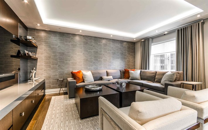 Download Wallpapers Stylish Living Room Interior Modern Interior Design Loft Style Brick Gray Wall In The Living Room For Desktop Free Pictures For Desktop Free