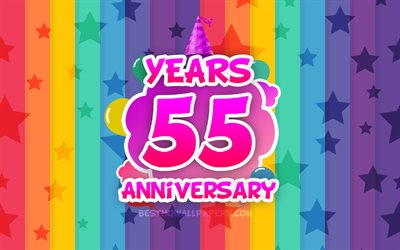 4k, 55 Years Anniversary, colorful clouds, Anniversary concept, rainbow background, 55th anniversary sign, creative 3D letters, 55th anniversary