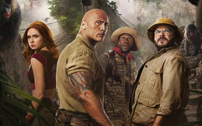 Jumanji The Next Level, 2019, 4k, promotional materials, poster, Dwayne Johnson, Jack Black, Kevin Hart, Karen Gillan