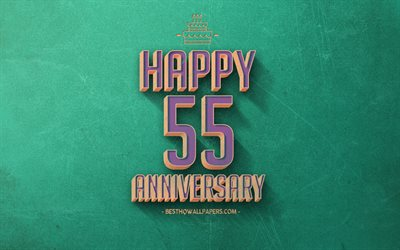 55 Years Anniversary, Turquoise Retro Background, 55th Anniversary sign, Retro Anniversary Background, Retro Art, Happy 55th Anniversary, Anniversary Background