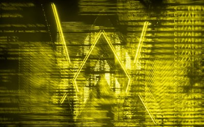 Alan Walker giallo logo, creativo, arte digitale, superstar, Alan Walker logo, star della musica, Alan Walker
