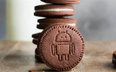 Android logo, chocolate cookies, sweets, emblem, cookies, Android