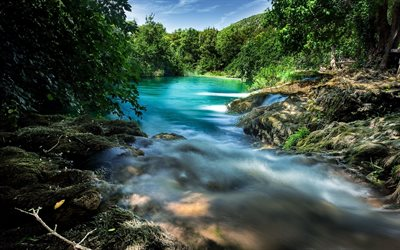mountain river, small lake, green trees, forest, blue sky, river
