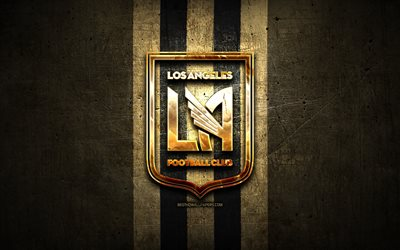 Los Angeles FC, golden logo, MLS, brown metal background, american soccer club, LA FC, United Soccer League, Los Angeles FC logo, soccer, USA