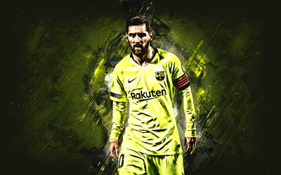 Lionel Messi, FC Barcelona, portrait, argentinian soccer player, yellow stone background, Catalan football club, La Liga, Spain, football