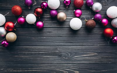 download wallpapers colorful christmas balls 4k xmas decorations new year wooden christmas background christmas decorations colorful xmas balls for desktop free pictures for desktop free download wallpapers colorful christmas