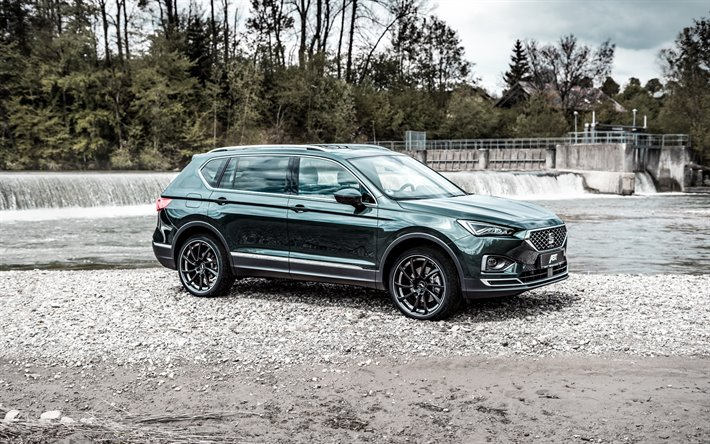 2019, Seat Tarraco, front view, exterior, green crossover, new green Tarraco, spanish cars, Seat