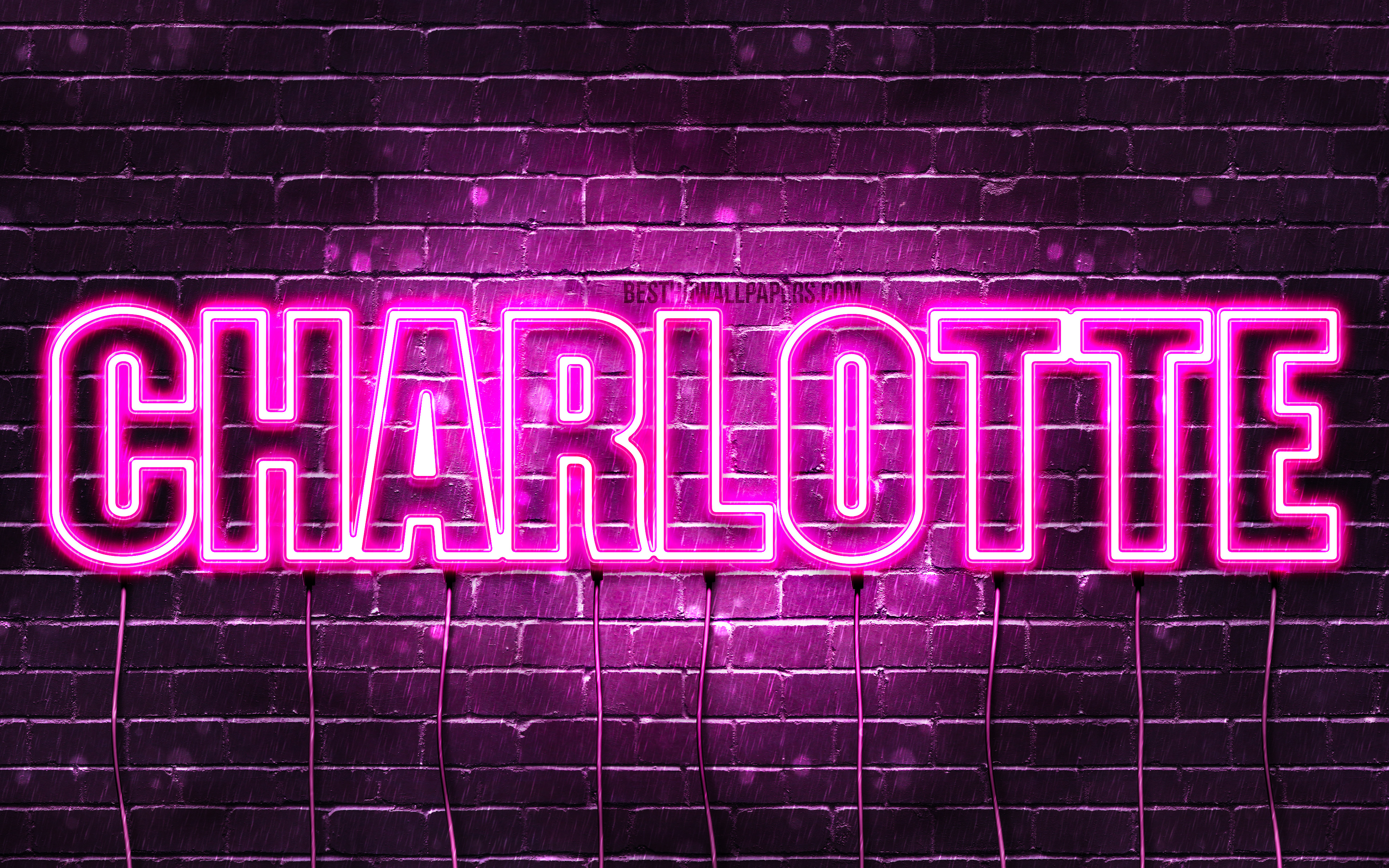 Charlotte, 4k, wallpapers with names, female names, Charlotte name, purple neon lights, horizontal text, picture with Charlotte name