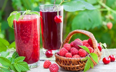 raspberry juice, Cherry juice, raspberry smoothie, berries, glass of juice, raspberries