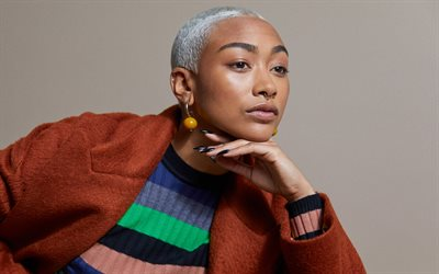 Tati Gabrielle, American actress, portrait, photoshoot, red jacket, Tatiana Gabrielle Hobson