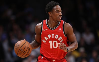 DeMar DeRozan, 4k, les joueurs de basket-ball, NBA, Toronto Raptors, le basket-ball